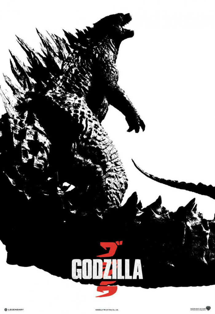 Godzilla black and white poster