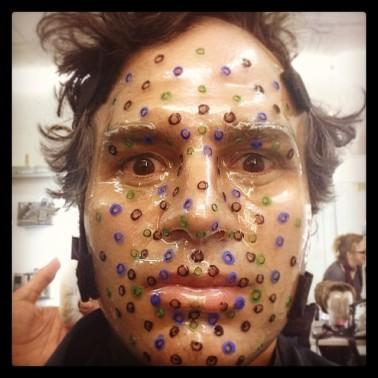 HERE IS A PHOTO OF MARK RUFFALO IN HIS R.O.T.O.R. MOCAP FACE.