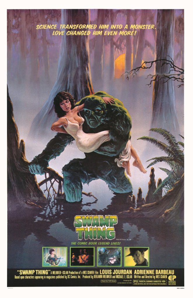 Swamp Thing carries the three biggest stars of the film to safety.