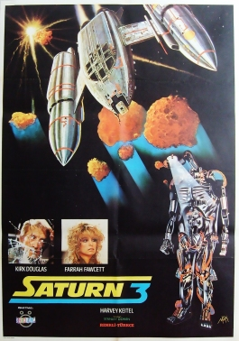 Saturn 3 1980 Kirk Douglas Farrah Fawcett Turkish Vintage Sci-Fi Movie Poster